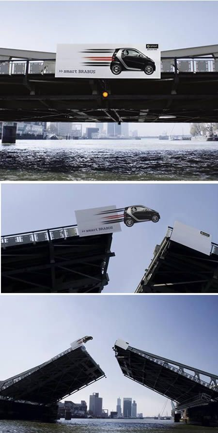 New Smart Brabus cars was placed quite 'smartly' on a bridge. It shows off the new Smart Brabus has got some extra power... #OutdoorAdvertising #Advertising #Creativity #Billboard #AmbientAdvertising #Smart #Car #Bridge