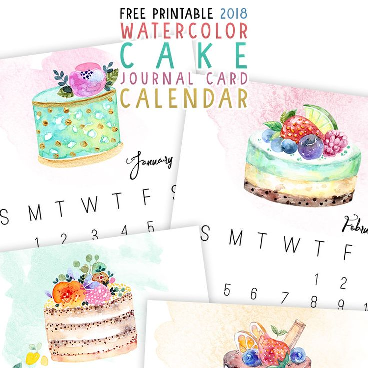 Free Printable 2018 Watercolor Cake Journal Card Calendar - The Cottage Market