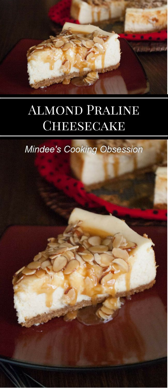 Almond praline cheesecake is smooth, creamy, and absolutely addictive, especially if you are a lover of almonds and caramel! via @https://www.pinterest.com/mindeescooking/
