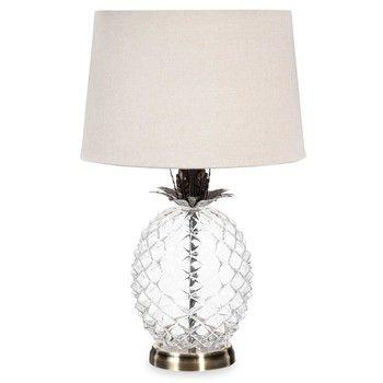 Glazen ananaslamp met beige lampenkap MALP