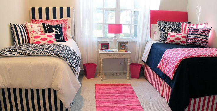 Preppy Pink And Navy Nautical Dorm Room Bedding Custom