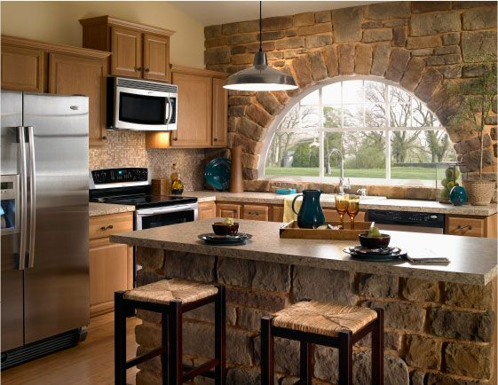 We love the character the stone adds to this kitchen.