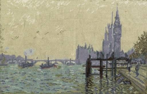 Monet - The Thames Below Westminster Cross Stitch Kit £29.00 | Past Impressions | DMC