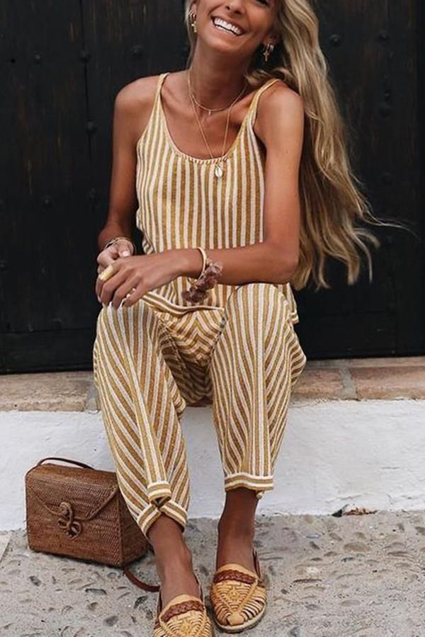 a3d942dfd Sexy Fashion Sleeveless Striped Jumpsuit in 2019 | Trends | Fashion, Summer  outfits, Outfits