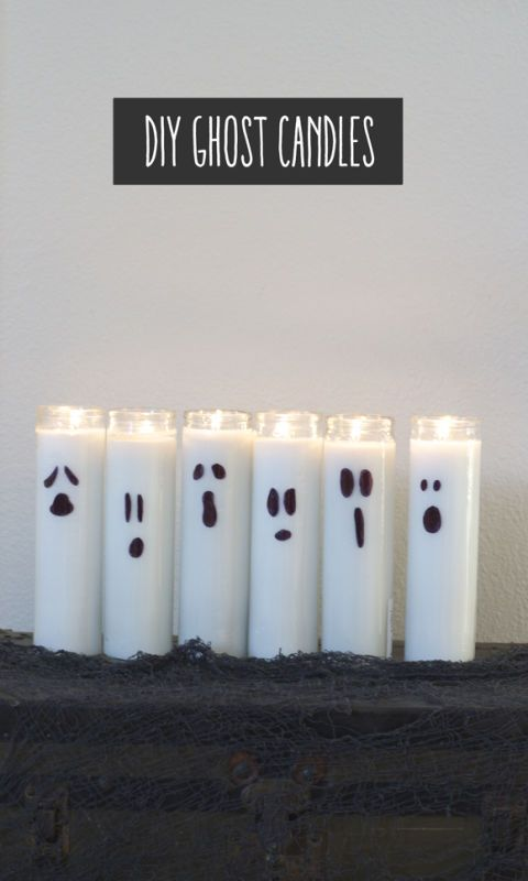 Costing $3.00 and taking minutes to make, nothing is easier than this DIY ghost candles decoration.