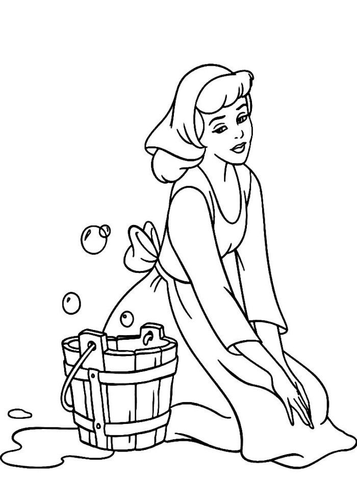 Cinderella cartoon coloring pages ~ Cinderella Cleaning The Floor Disney Coloring Pages ...