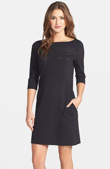 Free shipping and returns on Betsey Johnson Ponte A-Line Dress at Nordstrom.com. Laser cutouts backed by peekaboo mesh underscore the bateau neckline of a stretch-knit minidress.