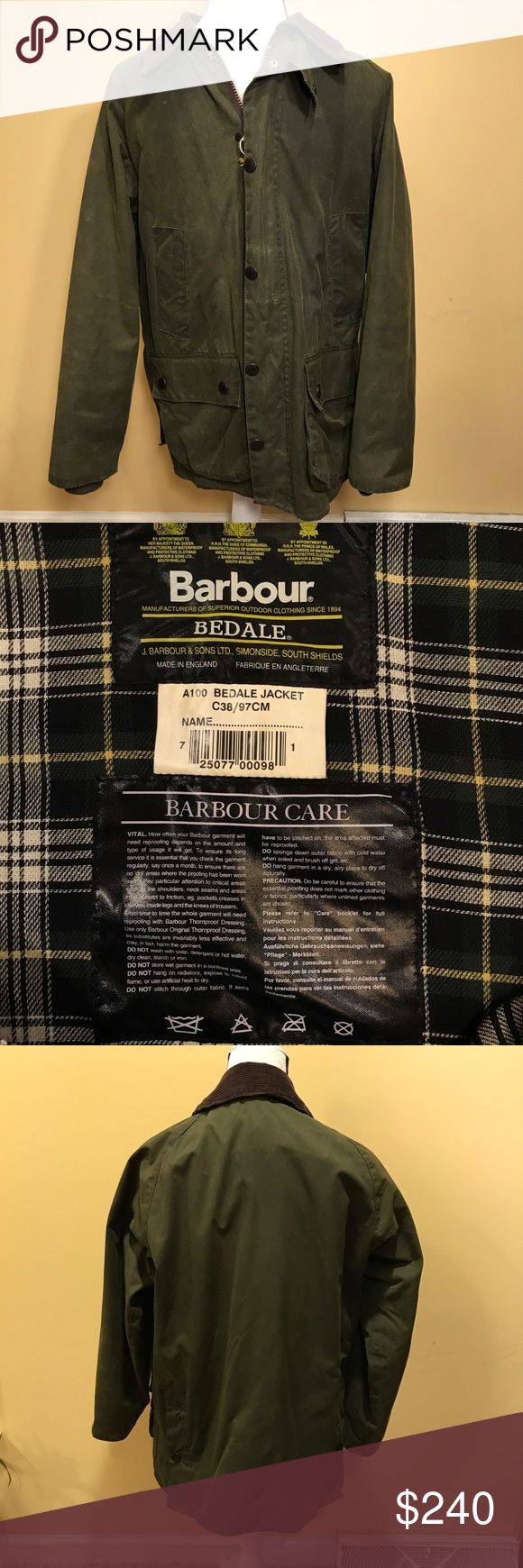 Barbour Men's Bedale Wax Coat - Size 38 Small - great condition  - flannel lining - brown corduroy collar - Olive Green - minimal signs of wear or marking - sleeve length from armpit: 20.5 inches - chest length: 22 inches - length: 28 inches Barbour Jackets & Coats