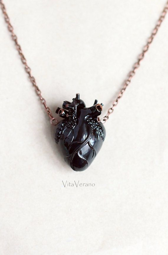 Anatomical heart necklace Black Heart Pendant by VitaVerano