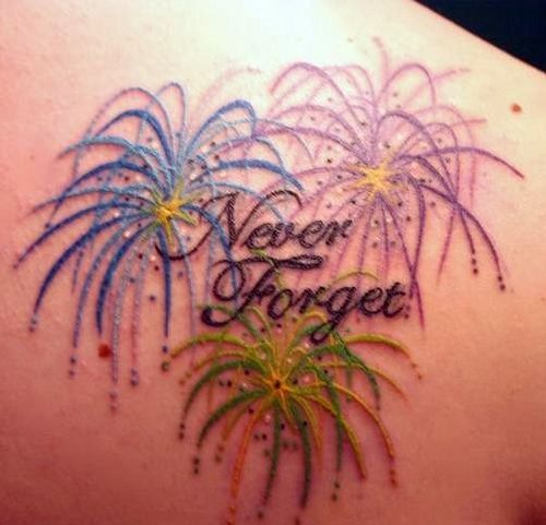 "kinda like this with only blue and green fireworks and no ""never forget""."