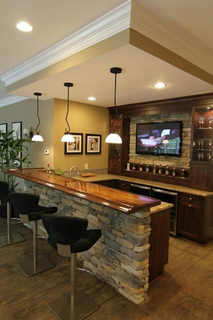 Home Design And Decor , Home Bar Decor : Home Bar Decor With Black Stools  And Small Pendant Lighting And Lcd Tv