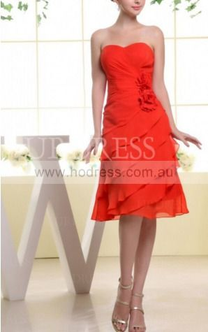 A-line Sweetheart Knee-length Chiffon Natural Formal Dresses gt3458