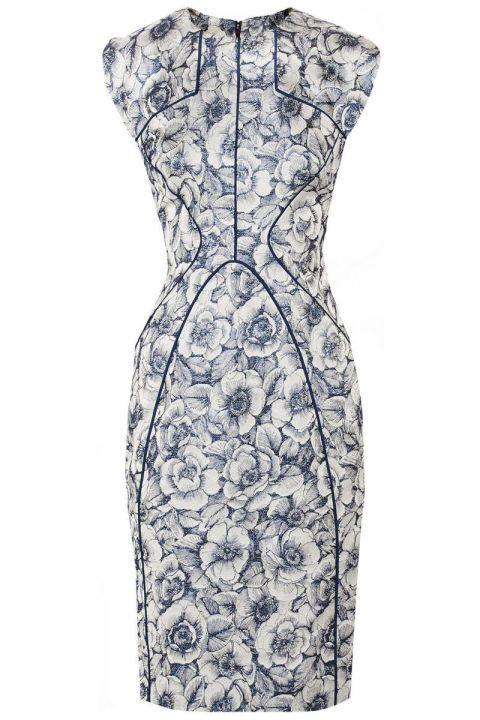 Lela Rose Metallic Floral-Jacquard Dress, $1,374; theoutnet.com