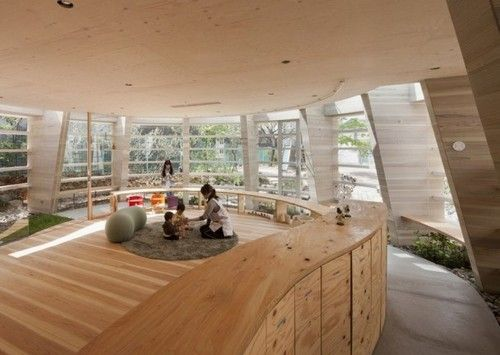 Modern Outdoor Classroom ~ Tsukushi nursery school in hiroshima japan such a