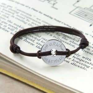Personalised Coordinate Open Disc Bracelet - gifts for him