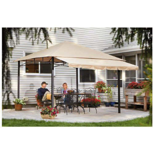 Patio 10x10 Gazebo With Awning Large Roof Style Steel Frame Outdoor Shade
