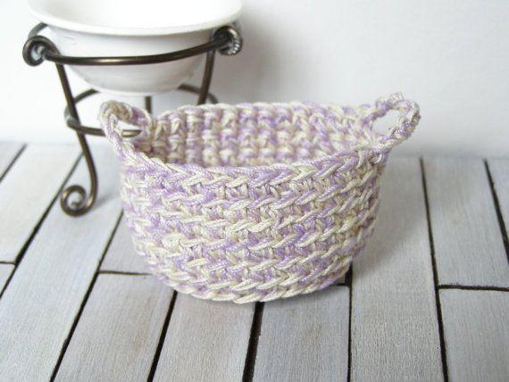 Dollhouse laundry basket crochet basket  1 12 by DewdropMinis