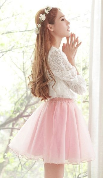 Pink pastel tulle skirt and white lace shirt