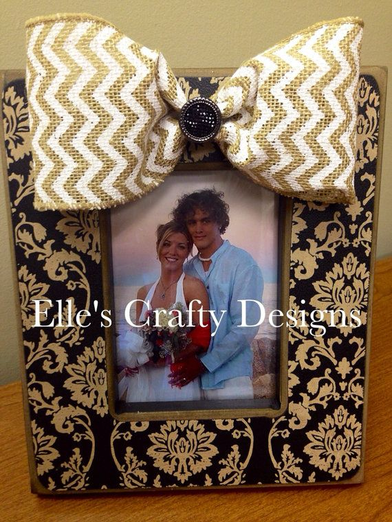 Elle's Crafty Designs - Fashionably Famous Frames - Custom Chevron Embellished Burlap Bow, 5x7 Black & Beige Picture Frame - by EllesCraftyDesigns, $40.00