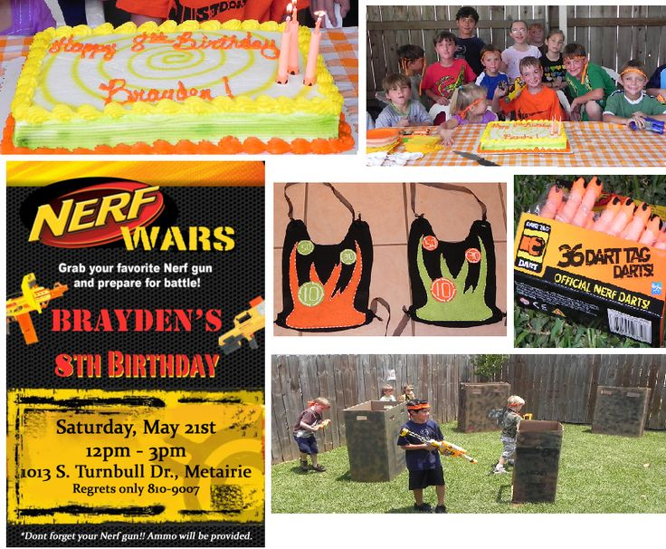 DIY NERF Birthday Party - Put this together for my 8 yr old son's birthday. Used nerf darts to hold the candles for his cake. Had the local grocery make his cake in neon nerf colors & airbrush a target ontop. Also made dart tag vests out of felt & elmers glue. Transformed boxes into forts by spray painting them camo colors & cutting windows & doors in them. Purchased extra nerf darts & put some in each fort. The kids were instructed to bring their favorite nerf gun & when they arrived at ...