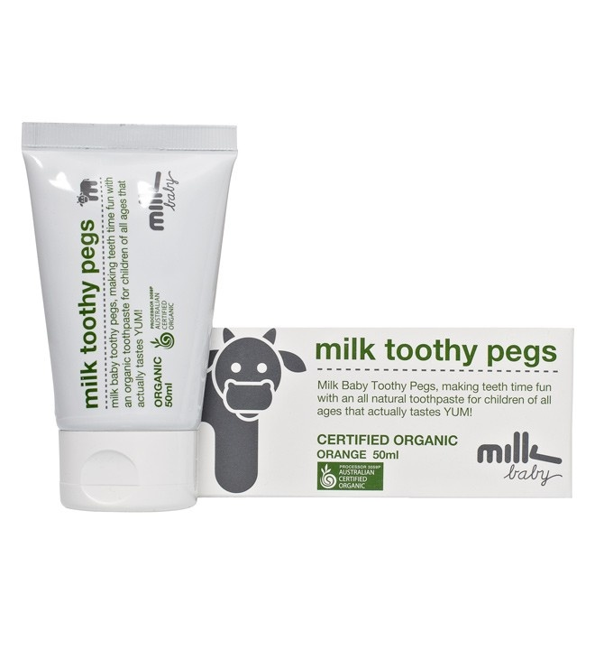 TOOTHY PEGS 50ML  Brusha brusha brusha... Making teeth time fun with this certified organic toothpaste. Full of good stuff to make strong healthy teeth and happy smiles. Just squeeze a pea sized drop onto a moistened toothbrush and gently scrub, make sure you focus on the entire mouth including teeth, gums and tongue. Get it done twice a day.  We here at Milk Baby have a whole bedtime routine, start with the Bath Time Wash, moisturise with our Moisturising Qweam to relax, brush the toothy pe