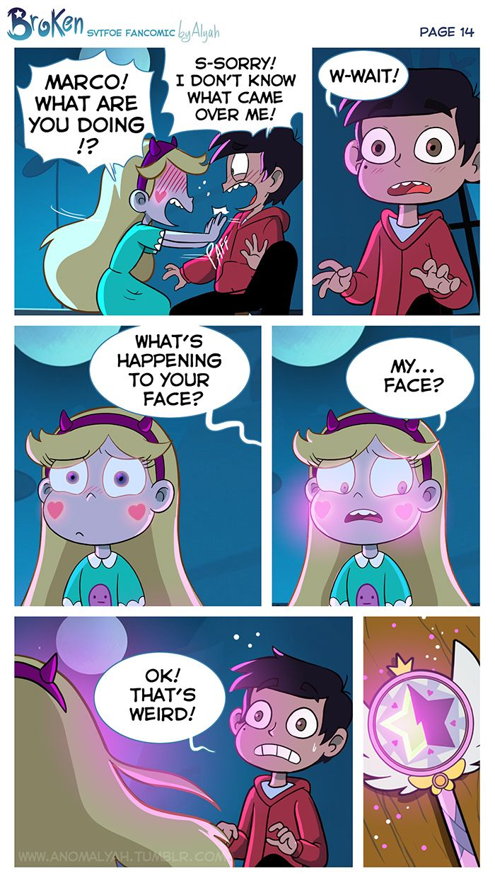"[COVER] [PREVIOUS PAGE] [NEXT PAGE] Moments later, Star pushed Marco away, feeling terribly uncomfortable. In that same moment, Marco realised what he just did. Flustered and embarrased, they started talking at the same time: ""MARCO! WHAT ARE YOU..."