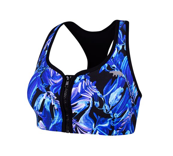 The fantastically floral Florence printed Zip Me Up Crop from Running Bare. Available online at onsport.com.au for $67.95.