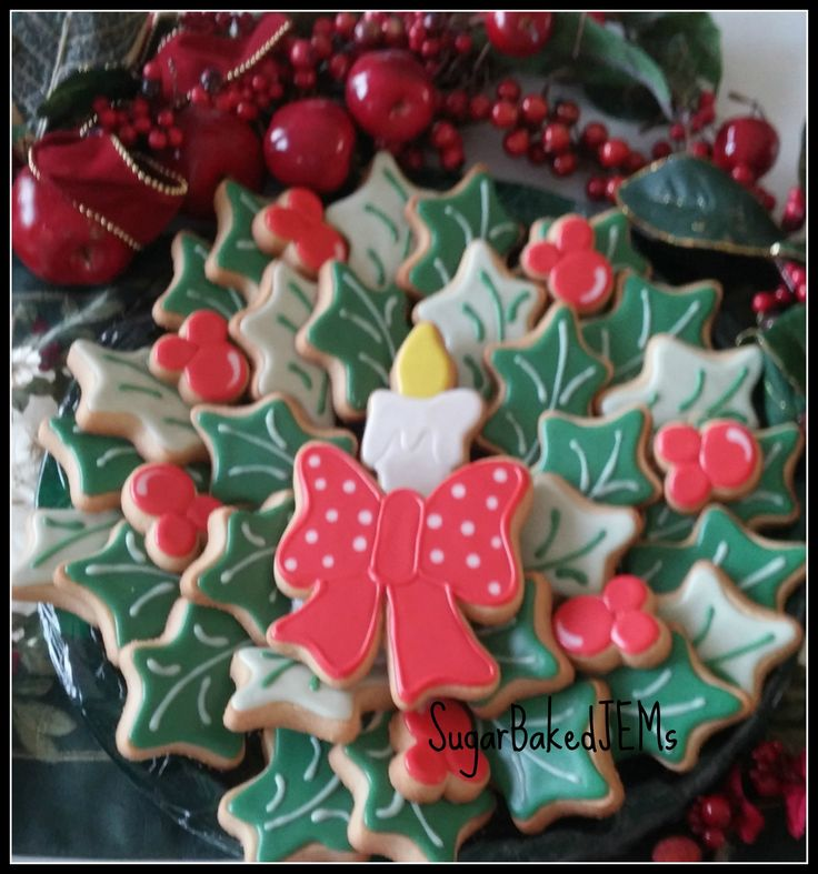 Christmas wreath cookie platter by SugarBakedJEMs