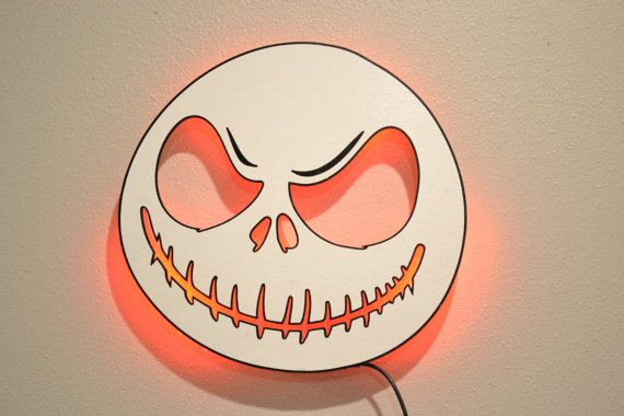 Scary Skeleton Wooden LED Sign Halloween LED Sign by EtchItOut on Etsy