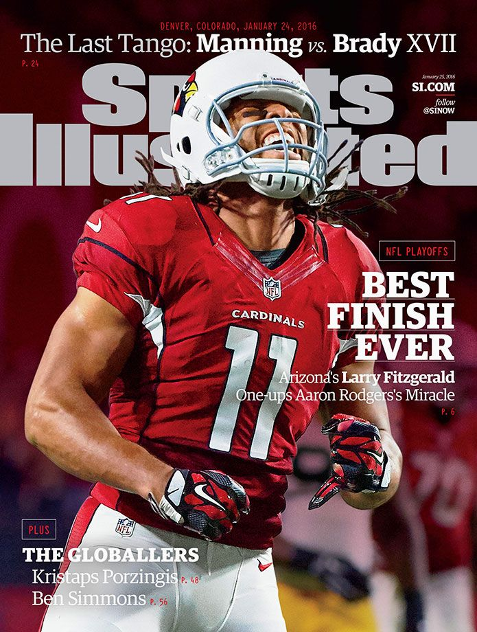 Larry Fitzgerald appears on the January 25, 2016 regional cover of Sports Illustrated. In the Cardinals divisional playoff game against the Packers, it was Fitzgerald's 75-yard catch and run on the first possession of overtime that culminated in a touchdown and brought Arizona one step closer to appearing in Super Bowl 50. (John W. McDonough for SI)