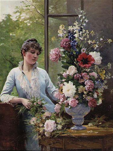 Preparing the Flower Arrangement - Edouard Bernard Debat Ponsan