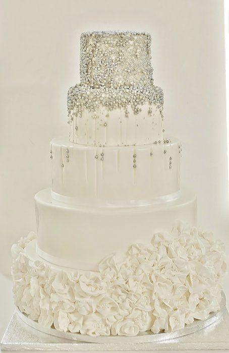 //White/silver wedding cake - by Sannastartor @ CakesDecor.com - cake decorating website #weddings #cakes