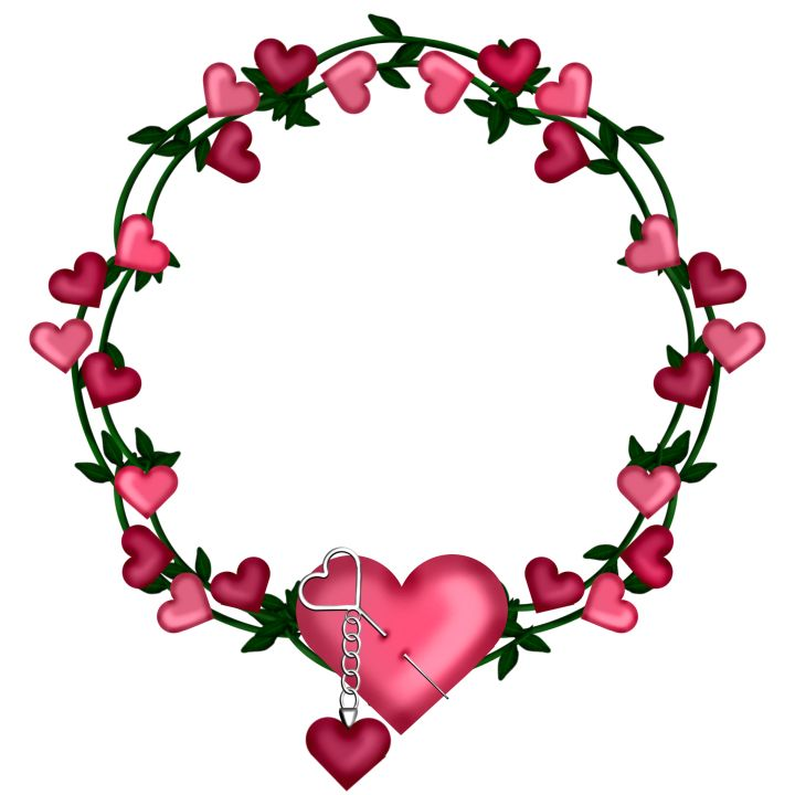 Transparent Frame Wreath with Hearts