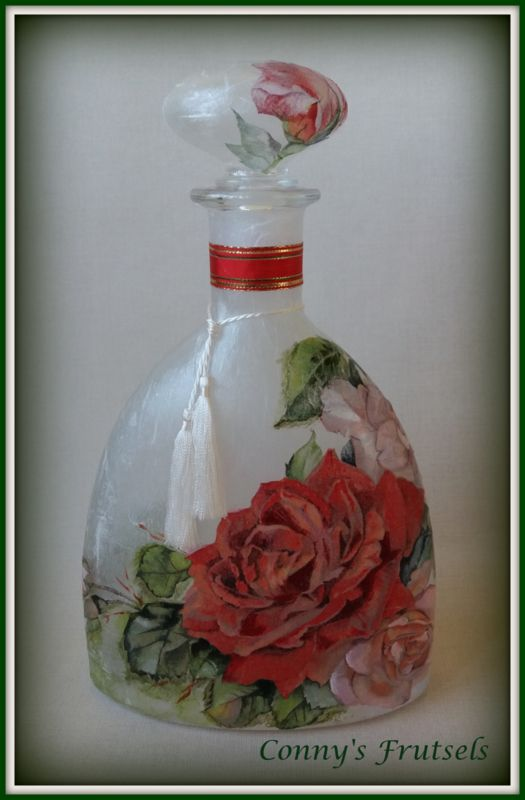 Karaf met Roos-decoratie / Bottle decoupage with ricepaper and napkin | Overige handgemaakt | Conny`s Frutsels
