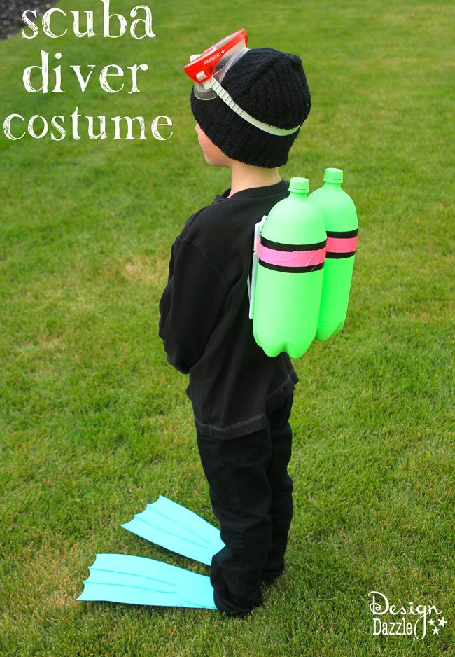 DIY: easy and inexpensive scuba diver halloween costume - Design Dazzle #DIYhalloweencostume, #halloweencostume, #scubadiver: