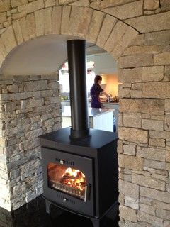 Image result for enclose my pellet stove on a wall