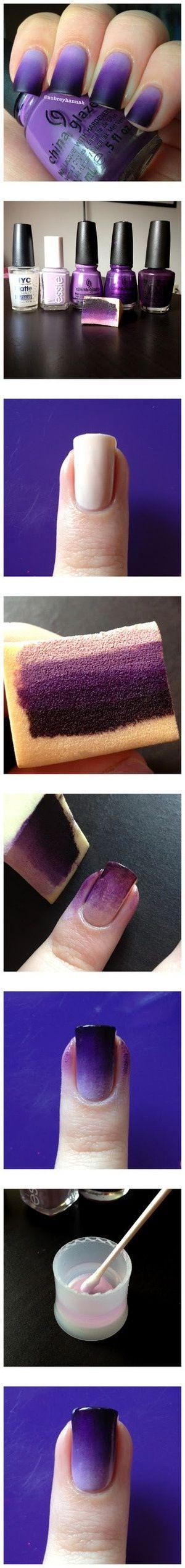 Sponge nail art. Love the color