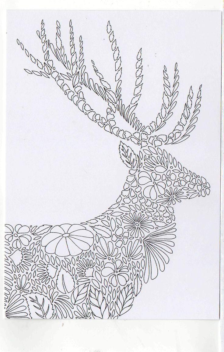 Millie Marotta's Colouring in Card Scotish Highland Deer
