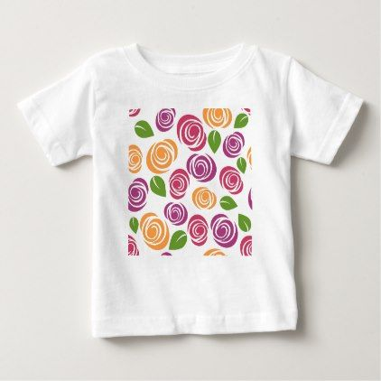 Floral Wallpaper Flowers Roses Pattern Nature Baby T-Shirt - floral style flower flowers stylish diy personalize
