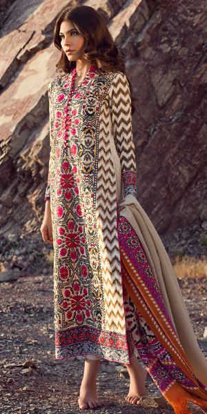 Superb multi design of Sana Safina cream, pink, mehendi green winter in woven, with silk printed pashmina shawl, having a winter in woven fabric with printed nakshi work.