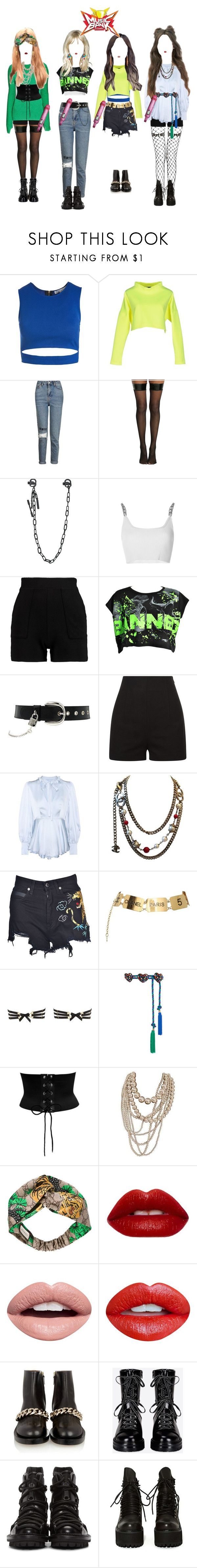 """""""《Music Bank》WAR OF HEARTS {WOH}"""" by bittersweet-official ❤ liked on Polyvore featuring Sans Souci, Philipp Plein, Topshop, Hot Topic, Dsquared2, Alexander Wang, D&G, La Perla, AlexaChung and Chanel"""