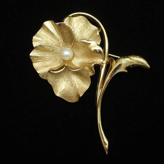 Boucher Black Flower Rose Pin Brooch Signed Numbered: 1271 Best Images About Flower Jewelry On Pinterest