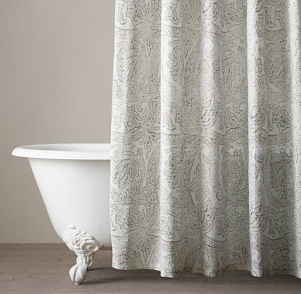 This is a great shower curtain for the bathroom. Purchase in Fog in the extra long size, 72x84. You want to be able to install the curtain high, so it gives the illusion of a bigger space. This will also make the shower curtain look like a drapery panel. Italian Distressed Scroll Linen Shower Curtain
