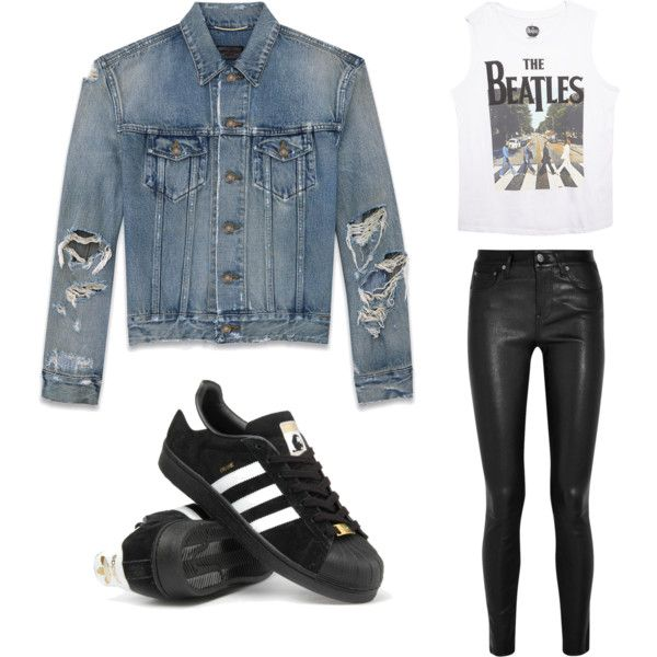 Denim Jacket Lovers by doubleblonded on Polyvore featuring polyvore, moda, style, Wet Seal, Yves Saint Laurent, Helmut Lang and adidas