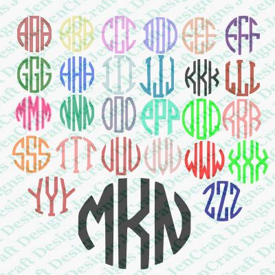 3 Letter Circle Monogram Alphabet Instant Download. Personal Monogram Cut files for Cutting Machines like Cricut and Silhouette. by JenCraftDesigns on Etsy