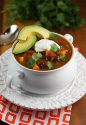 Healthy Black Bean and Sweet Potato Turkey Chili from Our Best Bites