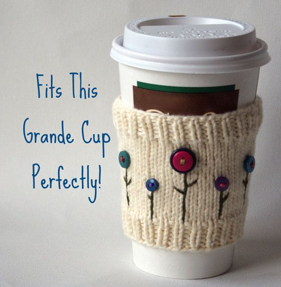 Cream Colored Cup Cozy with Button Flowers by CEKNITS on Etsy, $11.00