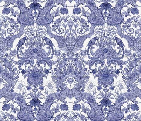 parrot damask blue and white by peacoquettedesigns on spoonflower bespoke fabric wallpaper - Wallpaper Wall Designs