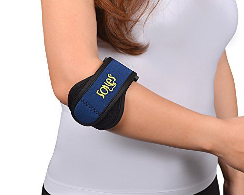Tennis / Golfer Elbow Brace By Soles - Soft, Comfortable Support with Neoprene Compression - Relieves Tendonitis, Forearm Pain & Golfer's Epicondylitis - One Size Fits Most ** Click image for more details.