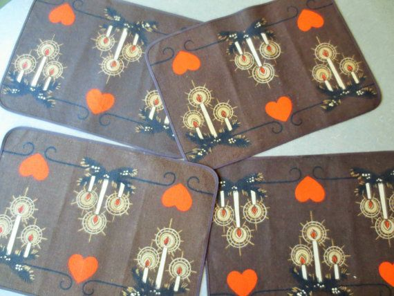 Vintage Place Mats Scandinavian Placemats Hearts by BettyAndDot